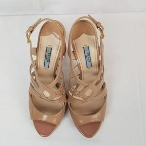 Prada Open Toe Strappy Sandals Patent Leather Heel
